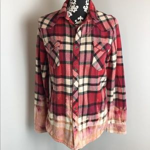 H&M Divided Button Front Flannel Bleached Hem